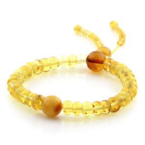 Adult Baltic Amber Bracelet Round Tablet Beads 7mm 8gr. AD192