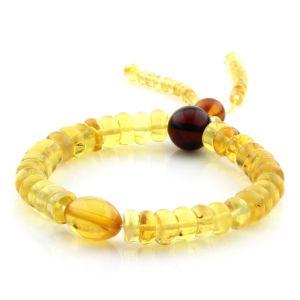 Adult Baltic Amber Bracelet Round Tablet Beads 8mm 10gr. AD193