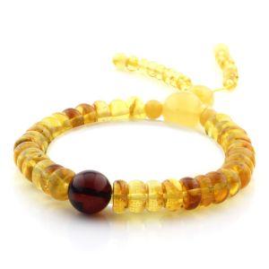 Adult Baltic Amber Bracelet Round Tablet Beads 8mm 10gr. AD194