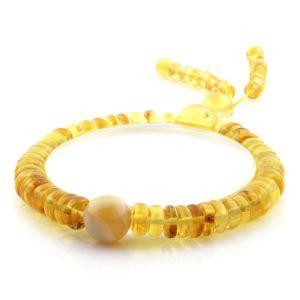 Adult Baltic Amber Bracelet Round Tablet Beads 7mm 9gr. AD196