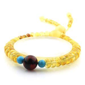 Adult Baltic Amber Bracelet Round Tablet Beads 8mm 11gr. AD197