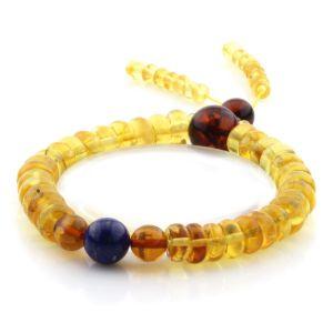 Adult Baltic Amber Bracelet Round Tablet Beads 8mm 11gr. AD198