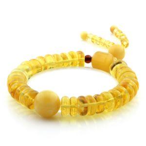 Adult Baltic Amber Bracelet Round Tablet Beads 10mm 15gr. AD202