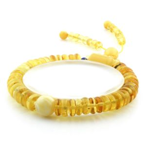 Adult Baltic Amber Bracelet Round Tablet Beads 8mm 10gr. AD204