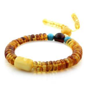 Adult Baltic Amber Bracelet Round Tablet Beads 8mm 11gr. AD207