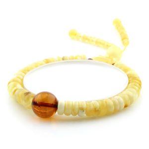 Adult Baltic Amber Bracelet Round Tablet Beads 7mm 8gr. AD220