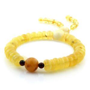 Adult Baltic Amber Bracelet Round Tablet Beads 9mm 12gr. AD221