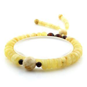 Adult Baltic Amber Bracelet Round Tablet Beads 8mm 9gr. AD224