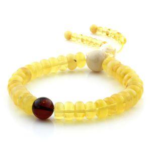 Adult Baltic Amber Bracelet Round Tablet Beads 9mm 12gr. AD228
