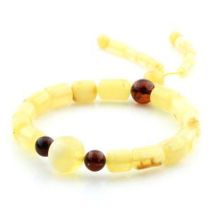 Adult Baltic Amber Bracelet Round Cylinder Beads 10mm 8gr. AD232