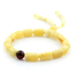 Adult Baltic Amber Bracelet Cylinder Round Beads 12mm 8gr. AD235