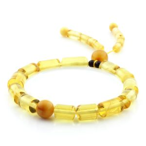Adult Baltic Amber Bracelet Cylinder Round Beads 12mm 8gr. AD241