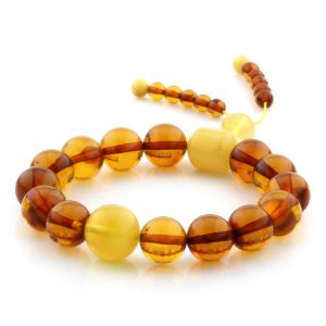 Adult Baltic Amber Bracelet Round Beads 13mm 13gr. AD244