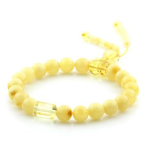 Adult Baltic Amber Bracelet Round Cylinder Beads 8mm 7gr. AD246
