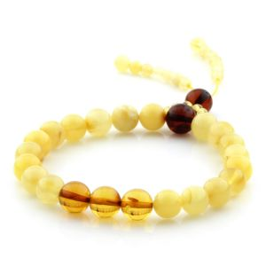 Adult Baltic Amber Bracelet Round Beads 8mm 7gr. AD247