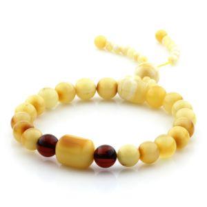 Adult Baltic Amber Bracelet Round Cylinder Beads 8mm 8gr. AD250