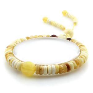 Adult Baltic Amber Bracelet Round Tablet Beads 7mm 8gr. AD254
