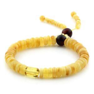 Adult Baltic Amber Bracelet Round Tablet Beads 7mm 8gr. AD255