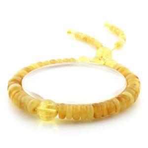Adult Baltic Amber Bracelet Round Tablet Beads 7mm 8gr. AD256