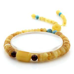 Adult Baltic Amber Bracelet Round Tablet Beads 7mm 7gr. AD258