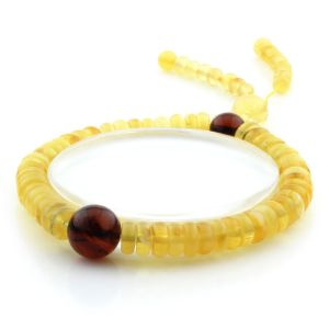 Adult Baltic Amber Bracelet Round Tablet Beads 7mm 9gr. AD260