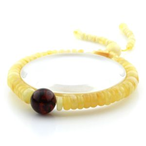 Adult Baltic Amber Bracelet Round Tablet Beads 7mm 8gr. AD265