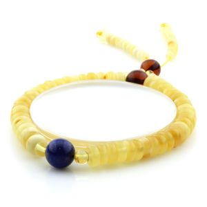 Adult Baltic Amber Bracelet Round Tablet Beads 7mm 9gr. AD267