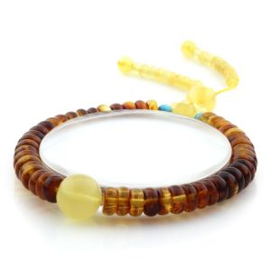 Adult Baltic Amber Bracelet Round Tablet Beads 7mm 8gr. AD273