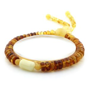 Adult Baltic Amber Bracelet Tablet Cylinder Beads 7mm 8gr. AD274