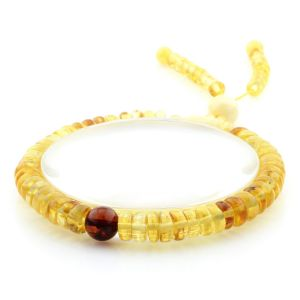 Adult Baltic Amber Bracelet Round Tablet Beads 7mm 8gr. AD277