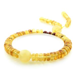 Adult Baltic Amber Bracelet Round Tablet Beads 7mm 8gr. AD278