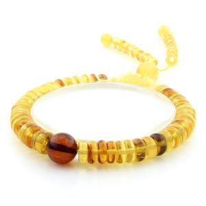 Adult Baltic Amber Bracelet Round Tablet Beads 8mm 9gr. AD279