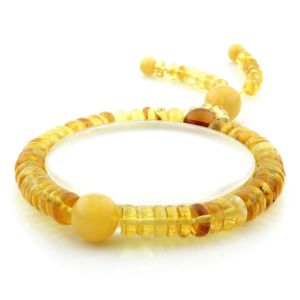 Adult Baltic Amber Bracelet Round Tablet Beads 8mm 10gr. AD282