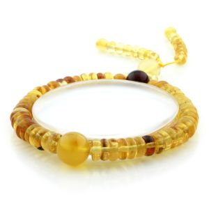 Adult Baltic Amber Bracelet Round Tablet Beads 7mm 8gr. AD283