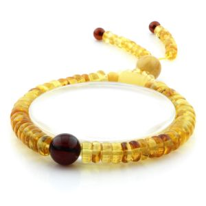 Adult Baltic Amber Bracelet Round Tablet Beads 7mm 8gr. AD284