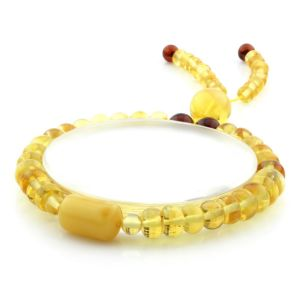 Adult Baltic Amber Bracelet Tablet Cylinder Beads 7mm 7gr. AD285