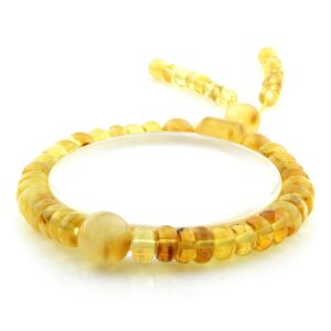 Adult Baltic Amber Bracelet Round Tablet Beads 8mm 9gr. AD286