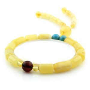 Adult Baltic Amber Bracelet Round Cylinder Beads 14mm 8gr. AD287