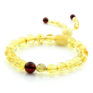 Adult Baltic Amber Bracelet Round Cylinder Beads 8mm 7gr. AD290