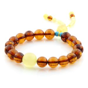 Adult Baltic Amber Bracelet Round Beads 9mm 9gr. AD291