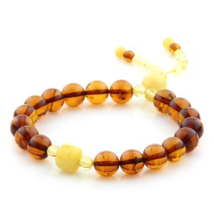 Adult Baltic Amber Bracelet Round Cylinder Beads 8mm 7gr. AD292