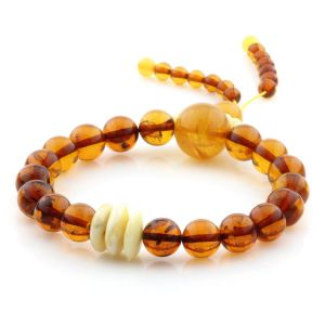 Adult Baltic Amber Bracelet Round Tablet Beads 9mm 11gr. AD293