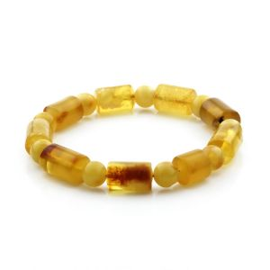 Adult Baltic Amber Bracelet Cylinder Round Beads 15mm 15gr. CB88