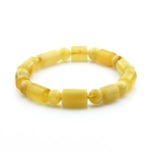 Adult Baltic Amber Bracelet Cylinder Round Beads 13mm 12gr. CB89