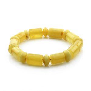 Adult Baltic Amber Bracelet Cylinder Tablet Beads 15mm 17gr. CB90