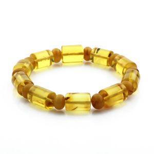 Adult Baltic Amber Bracelet Cylinder Tablet Beads 15mm 17gr. CB95