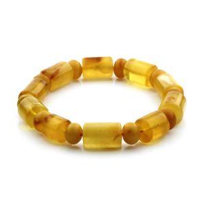 Adult Baltic Amber Bracelet Cylinder Tablet Beads 15mm 18gr. CB99