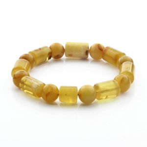 Adult Baltic Amber Bracelet Cylinder Round Beads 13mm 15gr. CB167