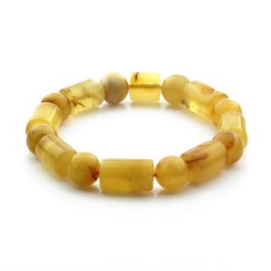 Adult Baltic Amber Bracelet Cylinder Round Beads 13mm 16gr. CB168