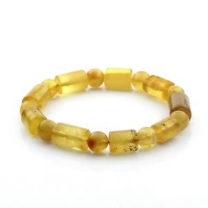 Adult Baltic Amber Bracelet Cylinder Round Beads 13mm 12gr. CB169